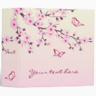 Cherry Blossoms and Butterflies Pink Binder