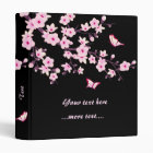 Cherry Blossoms and Butterflies Pink Black 3 Ring Binder