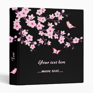 Cherry Blossoms and Butterflies Pink Black Binder