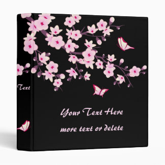 Cherry Blossoms and Butterflies Pink Black Binders