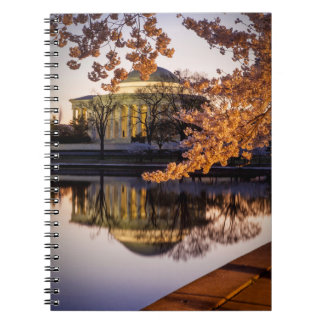 Cherry Blossoms And The Jefferson Memorial 2 Spiral Note Books