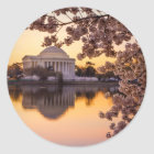 Cherry Blossoms And The Jefferson Memorial Classic Round Sticker