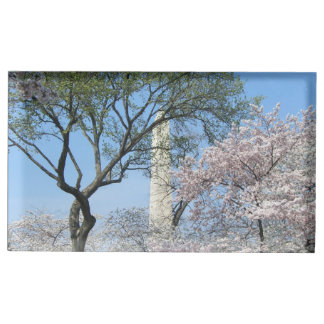 Cherry Blossoms and the Washington Monument in DC Place Card Holder