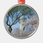 Cherry Blossoms and the Washington Monument in DC Silver-Colored Round Ornament