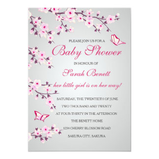 Cherry Blossoms Baby Shower Invitation Card