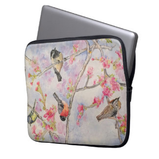Cherry Blossoms Birds Watercolor Laptop Sleeve