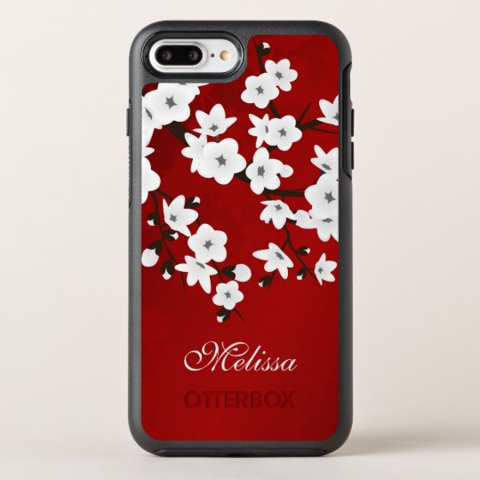 buy online 9fe9e 0c982 Cherry Blossoms Black White Red Monogram OtterBox iPhone Case