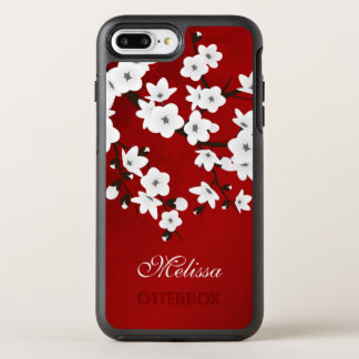 Cherry Blossoms Black White Red Monogram OtterBox Symmetry iPhone 8 Plus/7 Plus Case