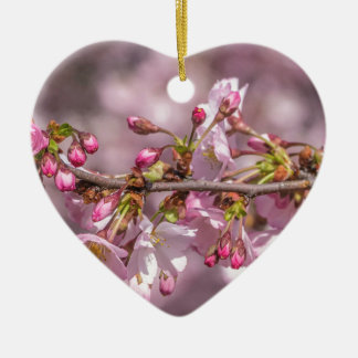 Cherry Blossoms Ceramic Heart Ornament