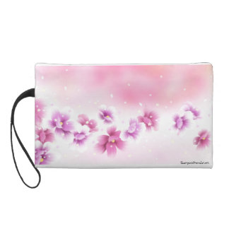 Cherry Blossoms Cosmetic Bag Wristlet