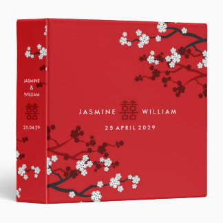 Cherry Blossoms Double Happiness Chinese Wedding 3 Ring Binders