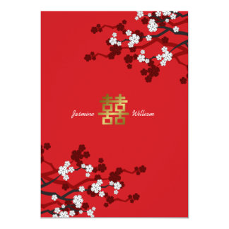 "Cherry Blossoms Double Happiness Chinese Wedding 5"" X 7"" Invitation Card"