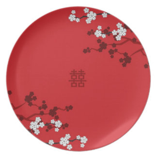 Cherry Blossoms Double Happiness Chinese Wedding Plate