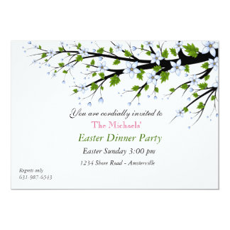 Cherry Blossoms Easter Dinner Party Invitation