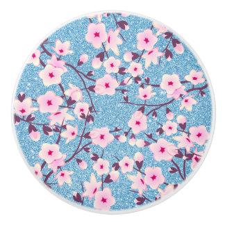 Cherry Blossoms Floral Blue Glitter Ceramic Knob