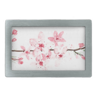 Cherry blossoms flowers rectangular belt buckle