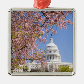 Cherry blossoms in front of Capitol building Metal Ornament