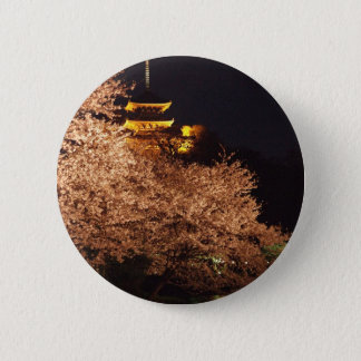 Cherry blossoms in Japan at night 2 Inch Round Button