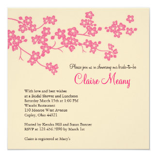 """Cherry Blossoms in Pink and Ivory 5.25"""" Square Invitation Card"""