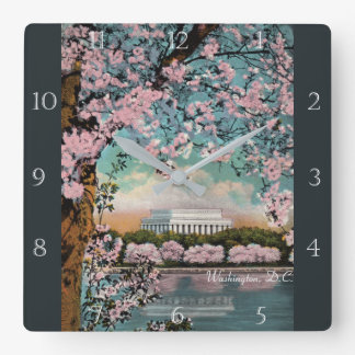 Cherry Blossoms in Washington DC Custom Square Wall Clock