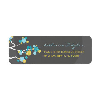 Cherry Blossoms Love Birds Wedding Address Labels