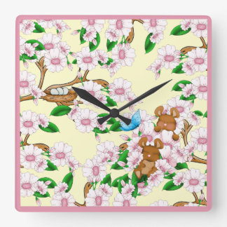 Cherry Blossoms Mice Pink Flowers Spring Blooms Wallclock