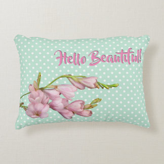 Cherry Blossoms Mint Green Dots Hello Beautiful! Decorative Pillow