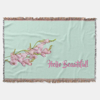 Cherry Blossoms Mint Green Dots Hello Beautiful! Throw Blanket