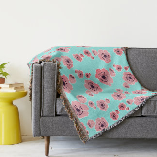 Cherry Blossoms Mint & Pink Throw Blanket