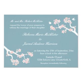 Cherry Blossoms on blue Landscape Invite