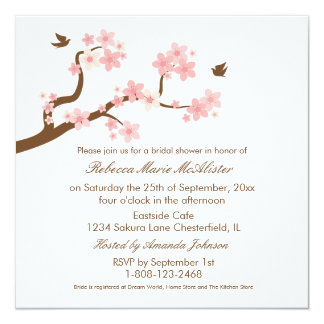 Cherry Blossoms on white Bridal Shower Invite