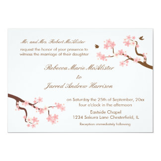Cherry Blossoms on white Landscape Invite