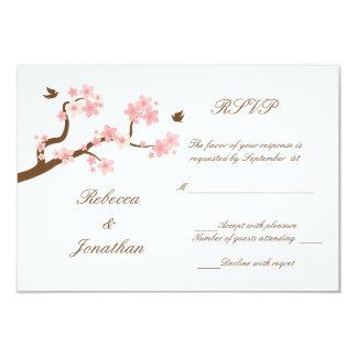 "Cherry Blossoms on white RSVP 3.5"" X 5"" Invitation Card"