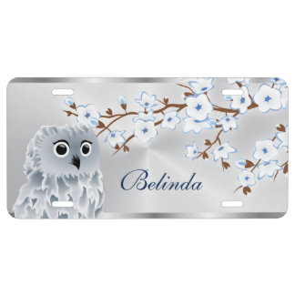 Cherry Blossoms Owl Blue Silver License Plate