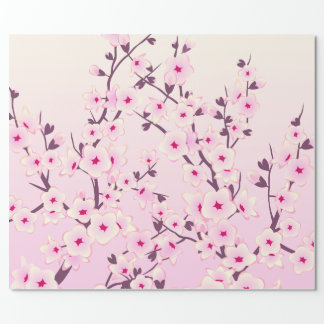 Cherry Blossoms Pattern Pink Floral Wrapping Paper