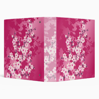 Cherry Blossoms Pink Berry Floral Vinyl Binder