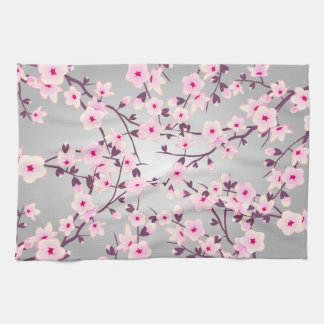Cherry Blossoms Pink Gray Kitchen Towel