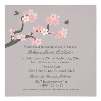 Cherry Blossoms Pink/Grey Bridal Shower Invite
