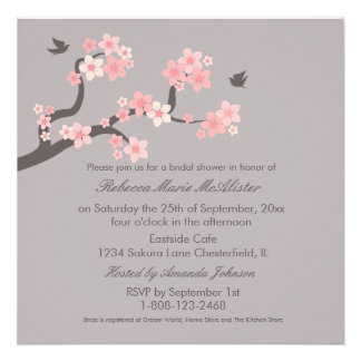 Cherry Blossoms Pink Grey Bridal Shower Invite
