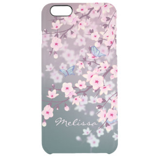 Cherry Blossoms Pink Night Clear iPhone 6 Plus Case