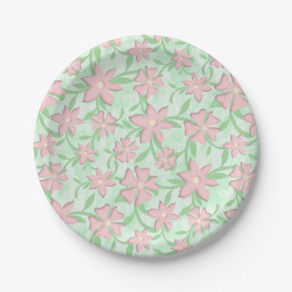 Cherry Blossoms Pink Sakura Bloom Spring Flowers Paper Plate