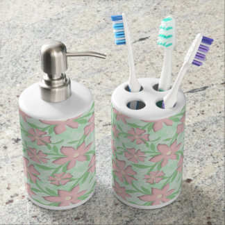 Cherry Blossoms Pink Sakura Bloom Spring Flowers Soap Dispenser And Toothbrush Holder