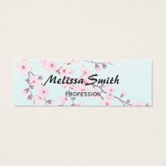 Cherry Blossoms Pink Turquoise Floral Mini Business Card