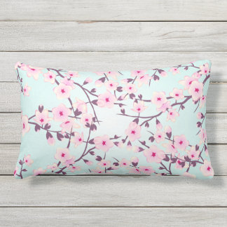 Cherry Blossoms Pink Turquoise Floral Outdoor Pillow