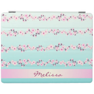 Cherry Blossoms Pink Turquoise Pattern i Pad Case iPad Cover