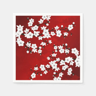 Cherry Blossoms Red Black and White Paper Napkins