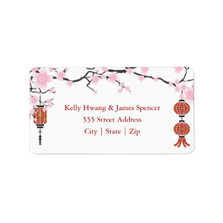 Cherry  Blossoms & Red Lanterns | Labels