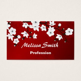 Cherry Blossoms Red White Black Business Card