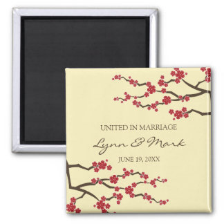Cherry Blossoms Sakura Floral Wedding Announcement Magnet