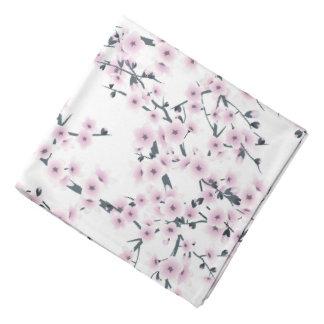 Cherry Blossoms Sakura Pink White Pattern Bandanna
